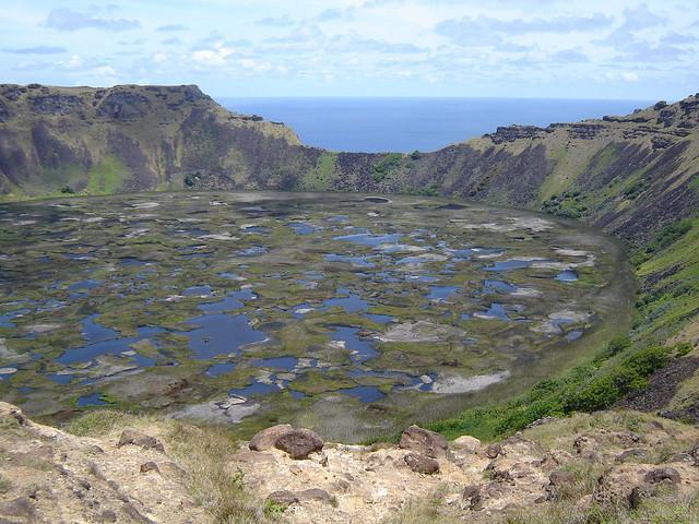Rano Kau volcano crater easter island